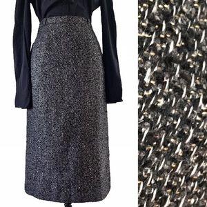 Vintage Metallic Gold Tweed Straight Pencil Skirt